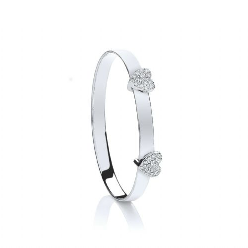 Solid Silver Baby Bangle Adjustable Heart Detail Christening Gift